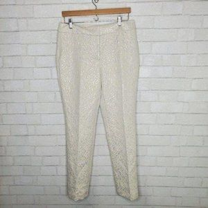 Ann Taylor Ivory Silver Embossed Dress Pants